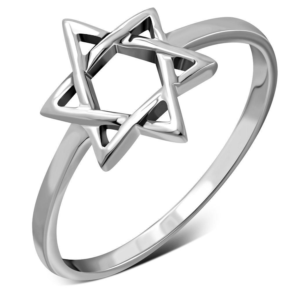 Star of David Light Plain Silver Ring, rp814