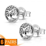 6pairs, Celtic Tree of Life Silver Stud Earrings, ep318
