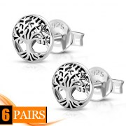 6pairs, Celtic Tree of Life Silver Stud Earrings, ep319