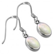 Mother of Pearl Oval Silver Earrings, e313h