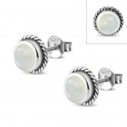 Mother of Pearl Round Stud Earrings - e369