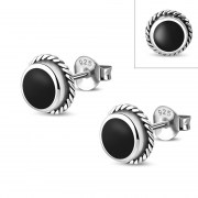 Black Onyx Round Stud Earrings - e369