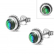 Abalone Round Earrings - e369