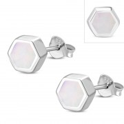 Mother of Pearl Hexagon Silver Stud Earrings, e373st