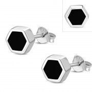 Black Onyx Hexagon Silver Stud Earrings, e373st