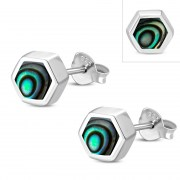 Abalone Shell Hexagon Silver Stud Earrings, e373st