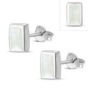 Mother of Pearl Rectangle Silver Stud Earrings, e374st