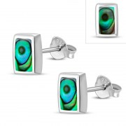 Abalone Shell Rectangle Silver Stud Earrings, e374st