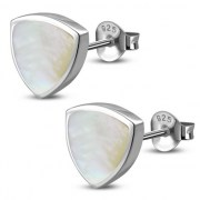 Mother of Pearl Reuleaux Triangle Silver Earrings, e390st