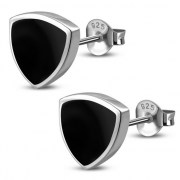 Black Onyx Reuleaux Triangle Silver Earrings, e390st