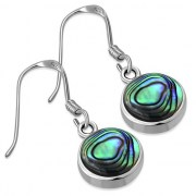 Abalone Round Silver Earrings - e401