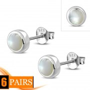 Mother of Pearl Sterling Silver Stud Earrings - e407