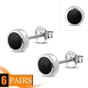 Black Onyx Sterling Silver Stud Earrings - e407