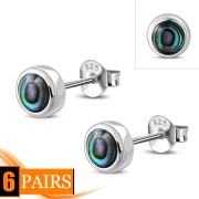 Abalone Shell Sterling Silver Stud Earrings - e407