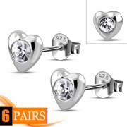 Clear Cubic Zirconia Heart Silver Stud Earrings, e416st