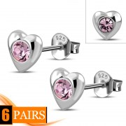 Pink Cubic Zirconia Heart Silver Stud Earrings, e416st