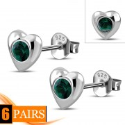 Green Cubic Zirconia Heart Silver Stud Earrings, e416st