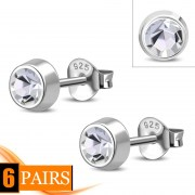 Cubic Zirconia Silver Stud Earrings, e426st