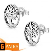 6pairs, Celtic Tree of Life Silver Stud Earrings, ep320