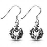 Scottish Thistle Sterling Silver Earrings - ep341