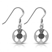 Scottish Thistle Sterling Silver Earrings - ep345