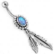 Native American Opal Belly Button Ring 316L & Silver, f301