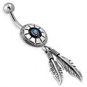 Native American Belly Navel Ring w Opal 316L & Silver, f303