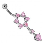 Star of David Belly Navel Ring w Pink CZ 316L & Silver, f337