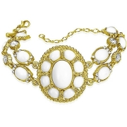 Fashion Gold Color PlatedV intage Resin Flower Oval Double Strand Bracelet w/ Clear CZ & 6.5cm Extender Chain - FBU179