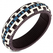 DIA-66mm Fashion Colorful Basket Weave Woven Wide Bangle - FBZ064