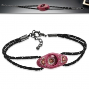 Fashion Fimo/ Polymer Clay Flower Oval Watch-Style Double Strand String Cord Bracelet w/ 3.5cm Extender Chain - INF021