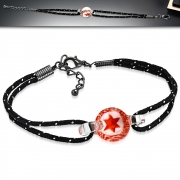 Fashion Boro Star Implosion Lampwork Glass Bead Ball Watch-Style Double Strand String Cord Bracelet w/ 3.5cm Extender Chain - INF035