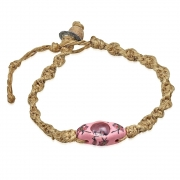 Fashion Fimo/ Polymer Clay Oval Watch-Style Twisted Natural Hemp Toggle w/ Loop Clasp Bracelet - INF078