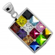 Hoshen Silver Pendant, set w Mix Color CZ, p407