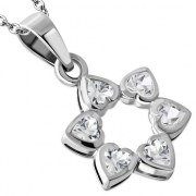 Clear CZ Heart Shape Star David Pendant, p410
