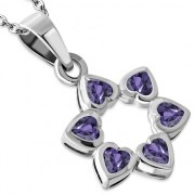 Amethyst CZ Heart Shape Star David Pendant, p410