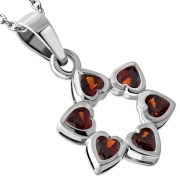 Garnet CZ Heart Shape Star David Pendant, p410