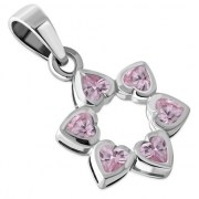 Pink CZ Heart Shape Star David  Pendant, 925 Silver, p410