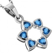 Heart Shape Blue CZ Star David Pendant, p410
