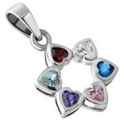 Mix Color CZ Heart Shape Star David  Pendant, p410