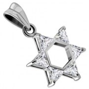 Medium Star David Pendant w Clear CZ, p411
