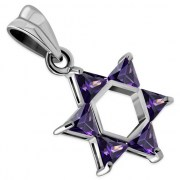Medium Star David Pendant w Purple CZ, p411