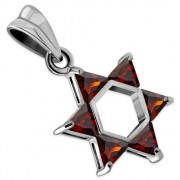 Garnet CZ Medium Star of David Pendant, p411