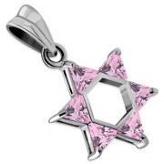 Pink CZ Medium Star David Pendant, p411