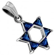 Blue CZ Medium Star David Pendant, p411