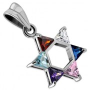 Mix Color CZ Medium Star David Pendant, Sterling Silver, p411