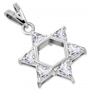 Large Star David Pendant set w/ Clear CZ, p412