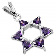 Large Star David Pendant Amethyst CZ, p412