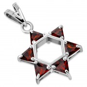 Large Star David Silver Pendant Garnet CZ, p412