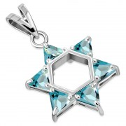 Blue Topaz CZ Large Star David Pendant, p412